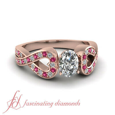 .80 Ct Oval Shape Rose Gold Pave Set Diamond Engagement Ring With Sapphire GIA