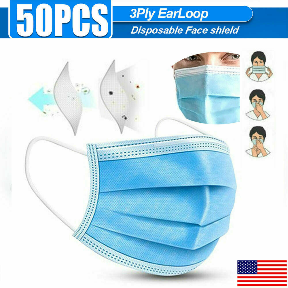 50pcs CE / FDA 3-Layers Face Mask Mouth Mask Filter Cover Shield Protection PPE
