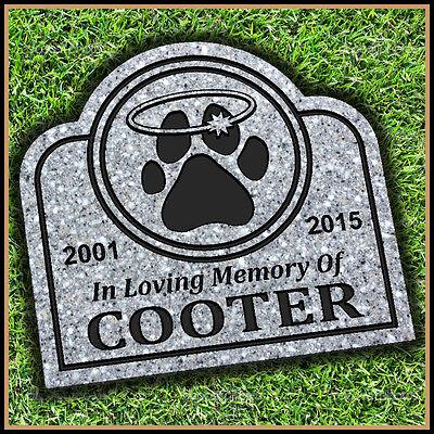 "Pet Memorial Grave Marker 11"" x 12"" Halo Headstone Dog Cat Gravestone"