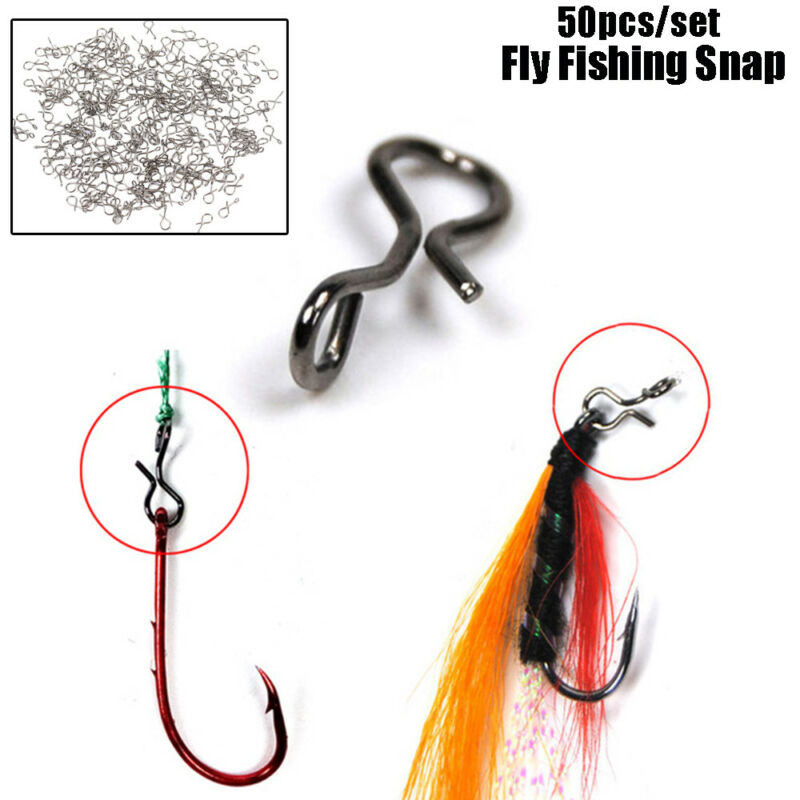 50Pcs Fly Fishing Snap Quick Change Hook Lure High Carbon Steel Tackle Accessory