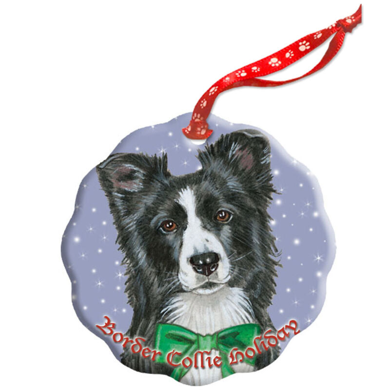 Border Collie Holiday Porcelain Christmas Tree Ornament