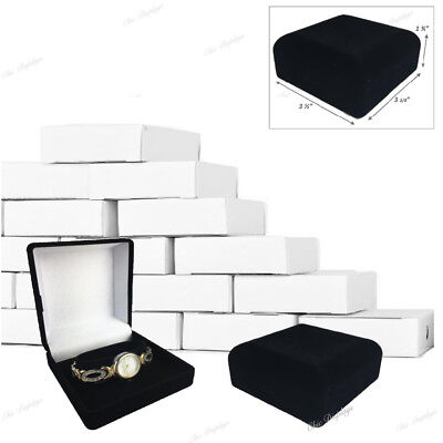 Lot Of 12 Velour Watch Gift Boxes Black Watch Box Wholesale Jewelry Boxes