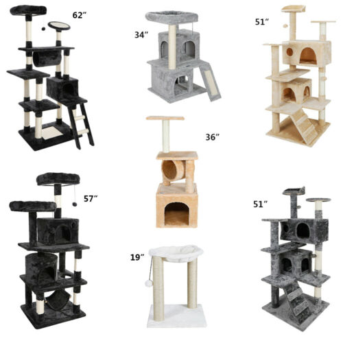 Photo Multiple Sizes Cat Tree Tower Condo Furniture Scratch Post Tree Kitty Play House