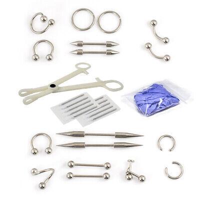 30 Pcs Eyebrow Piercing Kit- Horseshoe, Forceps, Labrets and Needles - Horseshoe Kit