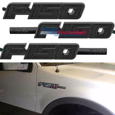 For 2009-2014 Ford F-150 FX4 Full Black Fender Tailgate Emblem Logo 3 Piece Kit for sale  Shipping to Canada