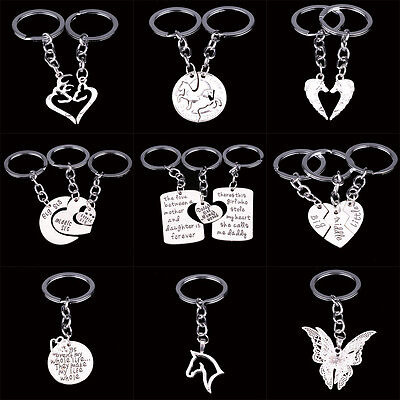 - New Family Mom Horse Deer Heart Key Chain Keyrings Silver Chain Keychain Charms