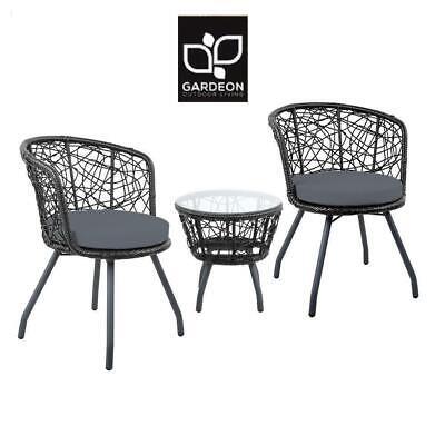 Garden Furniture - Gardeon Outdoor Furniture Wicker Bistro Set 3pcs Chair Table Rattan Patio Garden