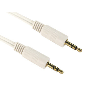 2m 3.5mm Jack to Jack Aux Cable STEREO Audio Auxiliary Lead PC Car GOLD - WHITE