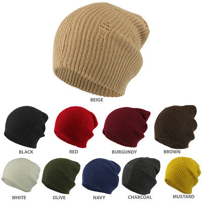 Vintage Frayed Pattern Knit Deep Slouchy Beanie - FREE SHIP