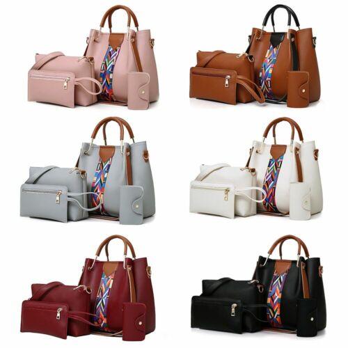 4pcs set women leather handbag shoulder tote