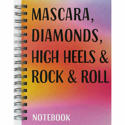 MASCARA, DIAMONDS, HIGH HEELS ROCK & ROLL A6 Wire Bound Lined Notebook Note -