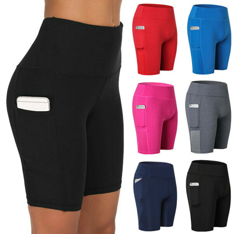 Womens High Waist Yoga Shorts Pocket Gym Cycling Biker Hot P
