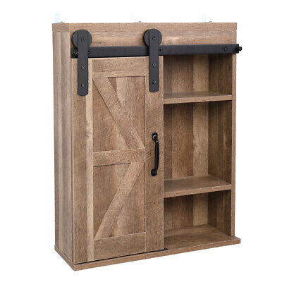 Wall Mounted Vintage Rustic Cabinet Solid Wood Storage Bathroom Shelves Brown