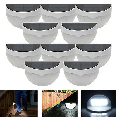 10Pack Outdoor Garden 6 LED Solar Power Sensor Wall Light Fence Lamp Waterproof