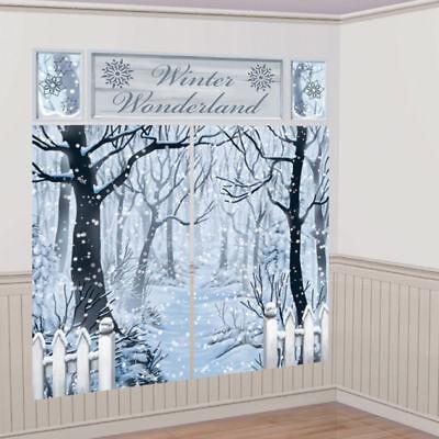 Christmas Winter Wonderland Large Scene Setter Room Decoration Frozen Backdrop