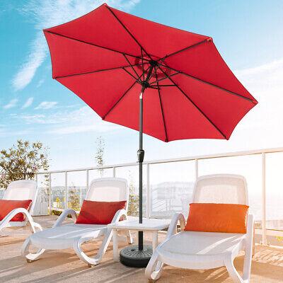 Red 9' 8Rib Aluminum Patio Umbrella SunShade Fold Tilt W/ Crank Outdoor Shelter