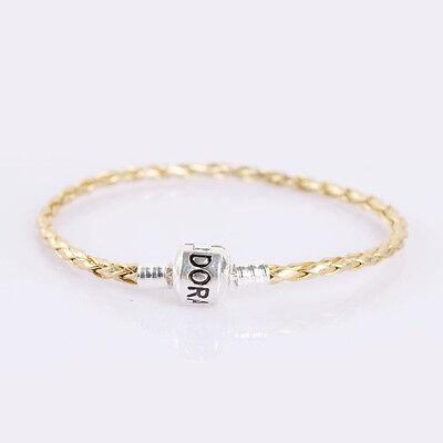 1Pcs Fashion Gold Leather Bracelets Chain Bangle Fit European Charms/Beads