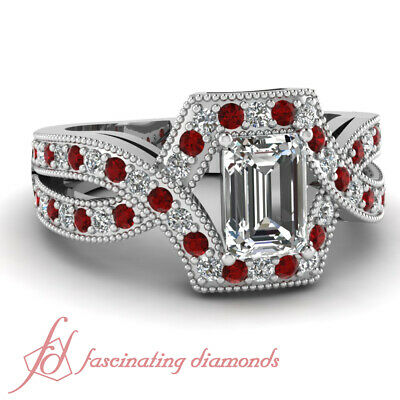 1.25 Ct Emerald Cut Diamond & Ruby Pave Set Women Engagement Rings GIA Certified