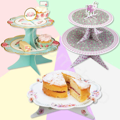 Vintage Cardboard Cake Stand Wedding Cupcake Muffin Cakestand Birthday Tea Party - Cardboard Cake Stand
