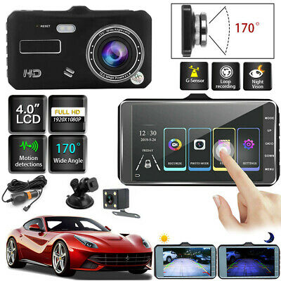 "4""HD 1080P Dual Lens Touch Screen Car DVR Dash Cam Recorder+Rear View Camera Kit"