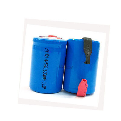 8 x NiCd 4/5 SubC Sub C 1.2V 1600mAh Rechargeable Battery Cell with Tab Blue
