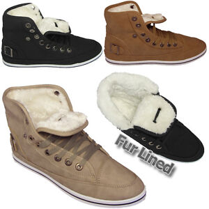 LADIES-ANKLE-BOOTS-GIRLS-HI-HIGH-TOP-TRAINER-FUR-LINED-WINTER-FLAT-SHOES-SIZE-uk