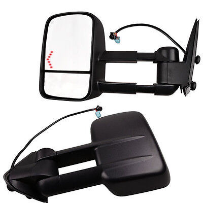 03-06 Silverado Tahoe Pickup Towing Mirrors Set Tow Power Heated LED Signal Pair Chevy Silverado Towing Mirrors