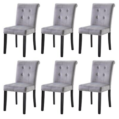 2 4 6 Grey Dining Chair Velvet Kitchen Upholstered Chair Wooden High Back Chair