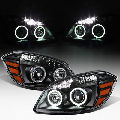 Black 2005-2010 Chevy Cobalt 07-10 Pontiac G5 LED DRL Halo Projector Headlights