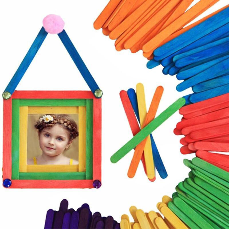 Details About Crafts Wood Diy Art Popsicle Sticks Ice Cream Stick Colored Wooden Cake Tools
