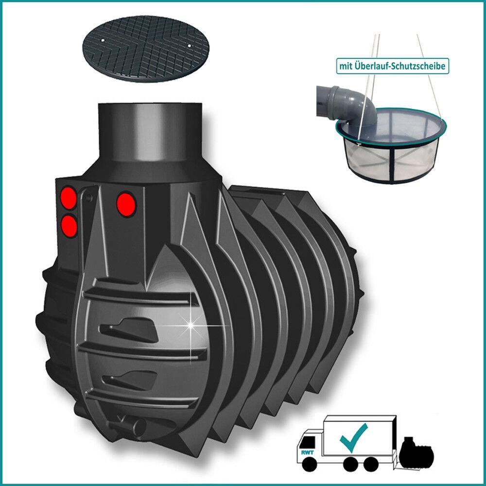 4500 l Regenwassertank Zisterne mit langem Domschacht Set mit Filter und Deckel