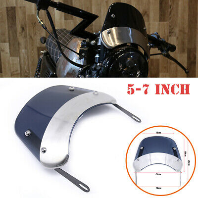5-7'' Retro Motorcycle Round Headlamp Fairing Front Windshield Bracket Universal