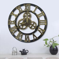 16 Antique Garden Wall Clock Big Roman Numerals Open Face Acrylic Outdoor Home