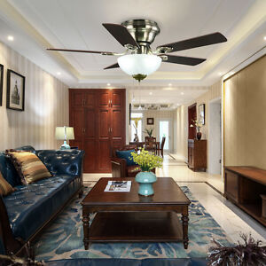 42 inch Ceiling Fan With Light Kit Flush Mount Low-Profile Antique Brass Finish