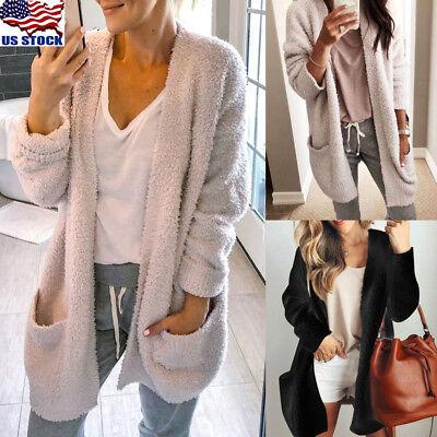 Women Long Sleeve Knitted Fluffy Cardigan Sweater Pocket Outwear Coat Jacket US