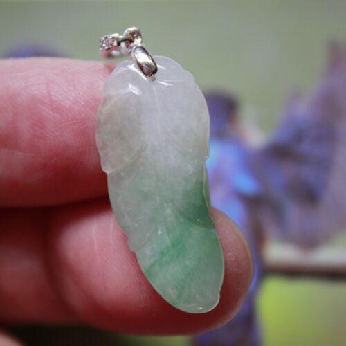 Genuine 100% Natural (Grade A) Untreated Jadeite Chinese JADE Small Leaf Pendant