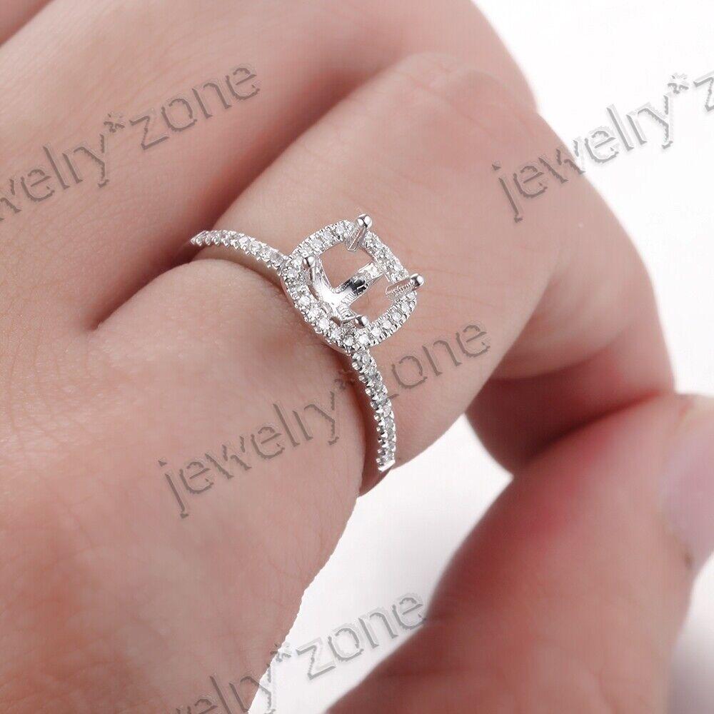 4.5x4.5mm Cushion Cut Semi Mount 18K White Gold Diamond Wedding Ring ...
