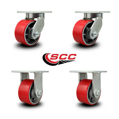 Scc 6 Extra Heavy Duty Red Poly On Metal Caster Set - 2 Swivel2 Rigid-set 4