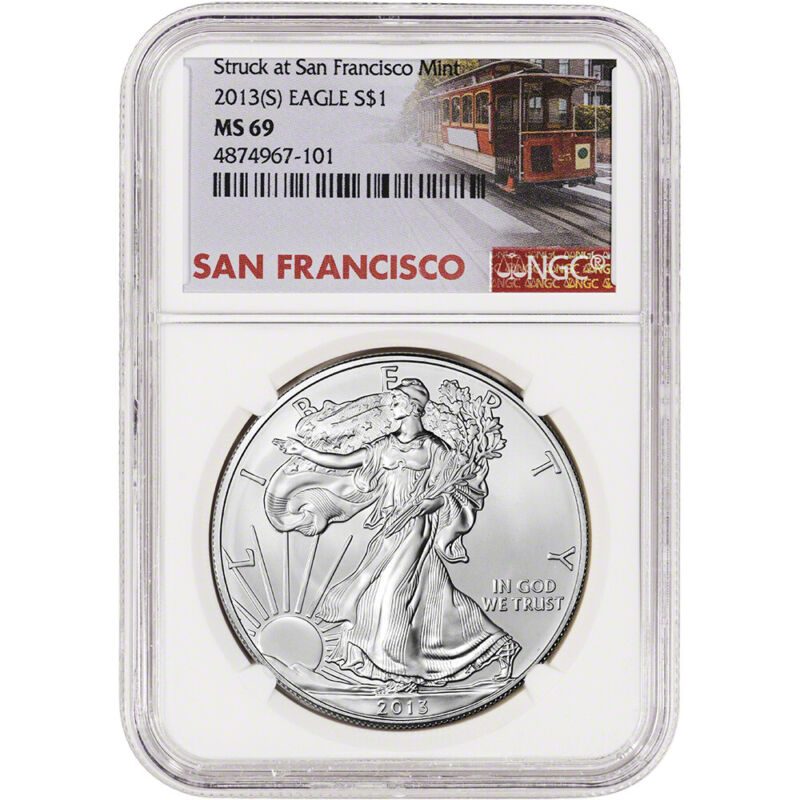 2013-(S) American Silver Eagle - NGC MS69 Trolley Label