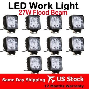 10pcs-x-27W-LED-work-flood-square-Light-bar-12V-24V-Off-road-Truck-4x4-Boat-lamp