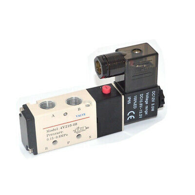 Us Stock Dc 12v Pneumatic Electric Solenoid Air Valve 5 Way 2 Position 4v210-08