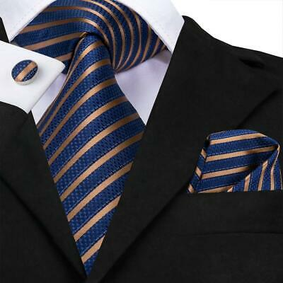 Blue Striped Woven Necktie (USA Blue Gold Striped Mens Tie Necktie Silk Jacquard Woven Set Wedding Party XL)