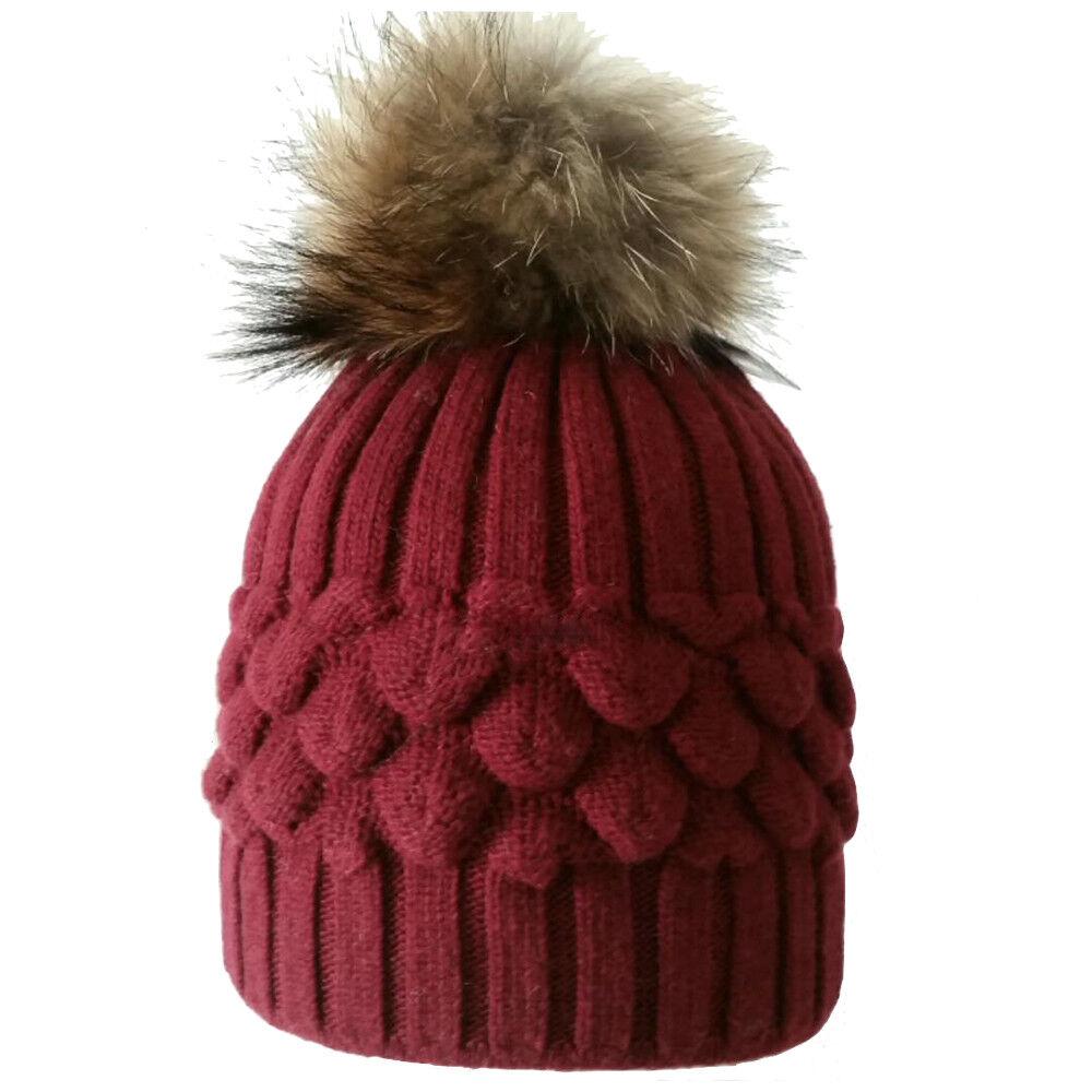 Inverno Pelliccia Pom Pom Cappello Beanie Maglia di Lana Misto ... 5a130af2f83a
