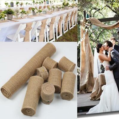 Diy Burlap Table Runner (10M Vintage Table Runner Jute Burlap Hessian Ribbon Roll Wedding Party DIY)