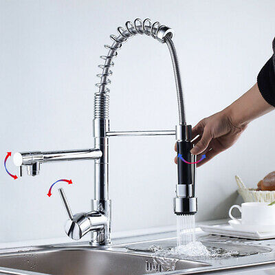 Stainless Steel Kitchen Faucet with Handle Pull Down Sprayer Two Spout Mixer Tap