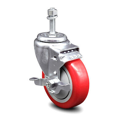 Poly Swvl Threaded Stem Caster W4 Red Wheel And 38 Stem Top Lock Brake