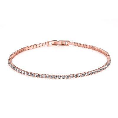 """Sale!! 14K Rose Gold Plated White Gold Plated Luxury Tennis Bracelet 7.5"""" Inches"""