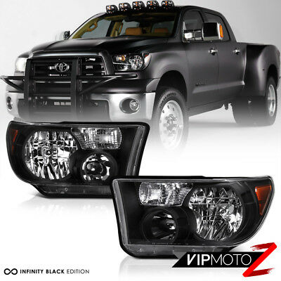 For 07-13 Toyota Tundra 2WD 4WD [TRD STYLE] Black Front Headlight Headlamp Black
