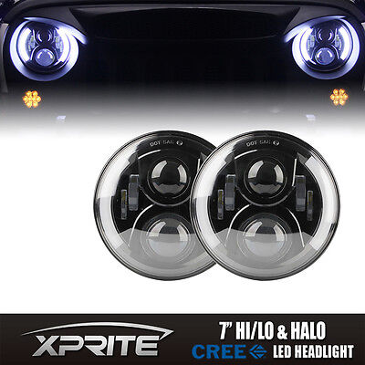 H4 100W 7'' LED Projector G2 Headlight DRL Side Halo Angel Eyes Jeep Wrangler JK