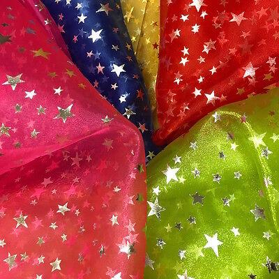 - Print Organza Star Fabric Crystal Shiny Crafts Decorations 60